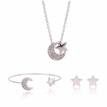 Silver Moon Star Alloy Crystal Necklace Earrings Jewelry Set