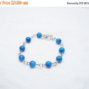 SALE Blue bracelet Natural stone bracelet blue turquoise bracelet beaded bracelet blue with black veins bracelet bracelet for women