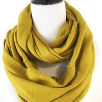 Mustard Yellow Infinity Scarf Full Loop Around Solid Color Infinity Scarf