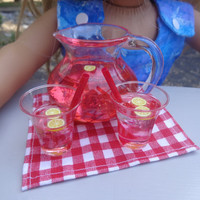 Pink Lemonade Cups & Pitcher for 18in Dolls