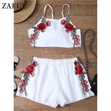 DCCKL3Z ZAFUL Summer Sexy Embroidered Womens Sets Two Piece 2017 White Chiffon Sleeveless Rose Applique Tie Back Cami Top With Shorts