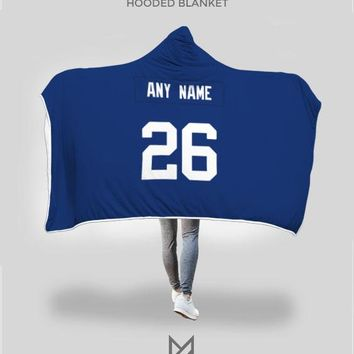 New York Giants Hooded Blanket - Personalized Any Name & Any Number