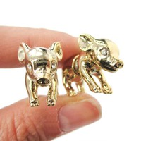 Fake Gauge Earrings: 3D Piglet Pig Shaped Animal Front and Back Two Part Earrings in Shiny Gold