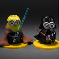 4pcs/Set New 2015 Minions Cosplay Star Wars Yoda Darth Vader Stormtrooper Darth Maul Pvc Action Figures Model Toys 8cm With Box