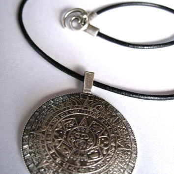 Silver Mayan Calendar Pendant on a Black Leather Choker Mykonos Castings Spiral Clasp Tribal Style Yoga Meditation Jewelry