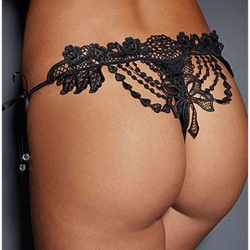 Black Cutout Lace T-Back Panty