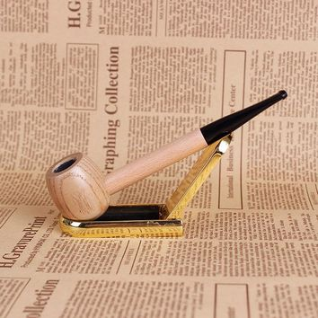 Creative Wood Solid Wood Pipes Portable Tobacco Pipe Weed Smoke Filter Smoking Pipe Mouthpiece Cigarette Holder Grinder Smoke