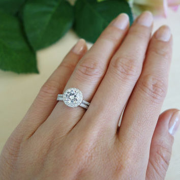 1.5 Carat, Gatsby Style, Halo Wedding Set, 6.5mm Center, Bridal Rings, D Color Diamond Simulants, Engagement Rings, Wedding, Sterling Silver