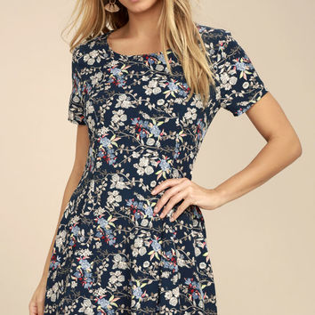 Horticulture Shock Navy Blue Floral Print Skater Dress