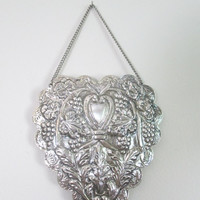 Wedding Heart Silver Mirror 900 Silver //  Repouse Turkish Ottoman Mirror