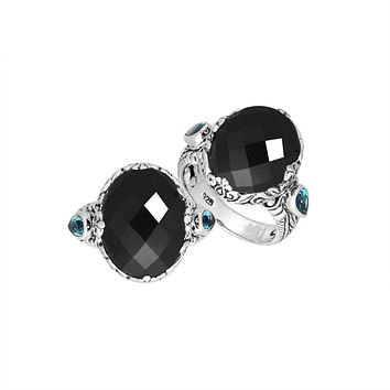 "AR-8027-OX-8"" Sterling Silver Oval Shape Ring With Black Onyx"