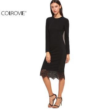 COLROVIE Elegant Dresses Women Business Casual Clothing Black Bodycon Dress Black Lace Trim Long Sleeve Pencil Dress