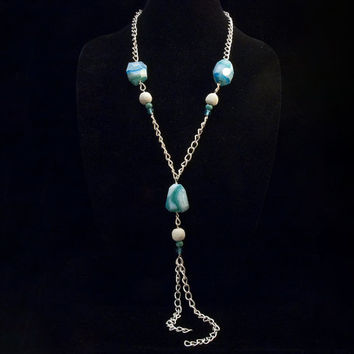 extra long dyed blue stone necklace with pumice and glass on bright silver toned chain (no clasp)