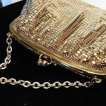 Gold Enamel Mesh Whiting Davis Evening Handbag Pouch Purse 1940s Fashion Christmas Wedding Late Art Deco Early Mid Century Bag with Mirror