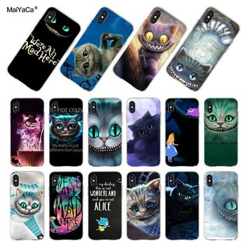 MaiYaCa For iphone XR XS MAX 7 8 Plus Alice in Wonderland Cheshire Cat Coque Shell Phone Case for iPhone 8 7 6 6S Plus X Case