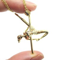 Pole Dancing Aerial Dance Themed Necklace in Gold | DOTOLY