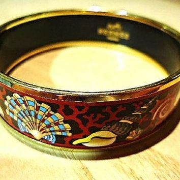 ONETOW Vintage Hermes cloisonne enamel golden thick bangle, bracelet with ocean, black sea, Tagre?
