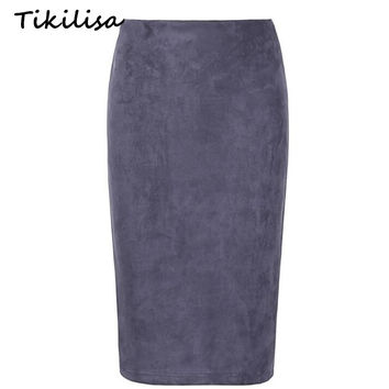 Tikilisa 2017 Solid Suede Midi Skirt Pencil Flocking Sexy Hip Push Spring Summer Basic Tube Bodycon Skirts Muti Colors Femininas