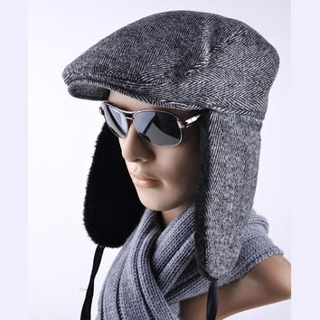 Latest styles Winter hats for Men Bomber Hat Berets Versatile Russian Trapper Caps Aviator Earmuffs gorras Retro casual cap men
