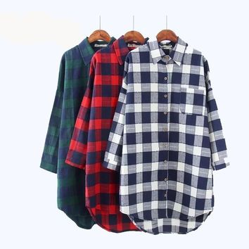 Women Flannel Top Plaid Long Shirt Plus Size