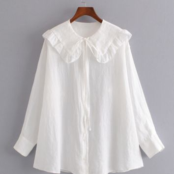 New product lotus leaf round neck tie bottoming shirt loose long sleeve shirt