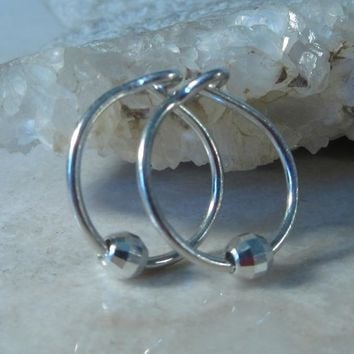 Little Hoop Earrings Silver with Silver Mirror Cut Bead