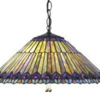 20 Inch W Tiffany Jeweled Peacock Feathers Pendant Ceiling Fixture