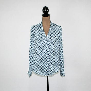 Womens Plaid Shirt Long Sleeve Button Up Blouse Medium White Blue Turquoise Casual Womens Tops Size 10 Blouse Jones New York Womens Clothing
