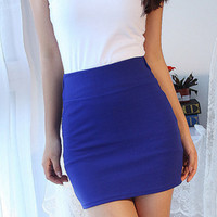 Bodycon Fitted Skirt - Blue