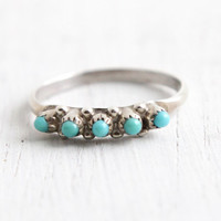 Vintage Sterling Silver Turquoise Ring - Retro Size 4 1/2 Southwestern Native American Jewelry