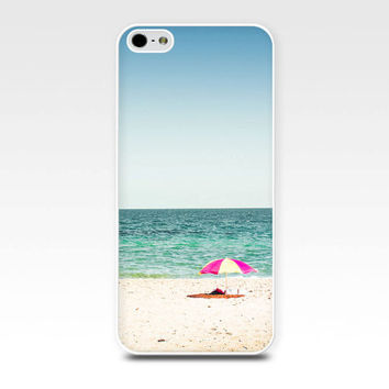 beach scene iphone case 6 iphone 5s case nautical iphone case 4s beach iphone case 5 ocean iphone case 4 beach umbrella case blue teal pink