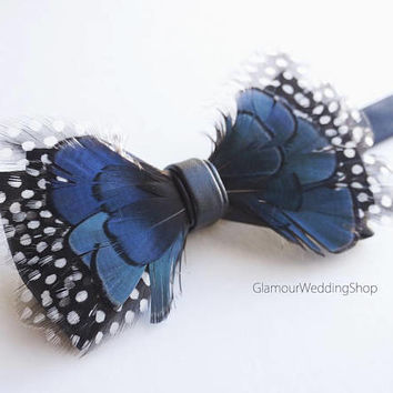 Bow Tie Feather Bow Tie Wedding Bow Tie Dark Blue Fathers Bow Tie Groom Grooms Bow Tie
