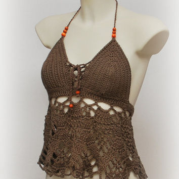 Festival long crop top. Brown halter top, hippie retro halter top, summer festival brown tank, summer wear, festival top, crochet tank.