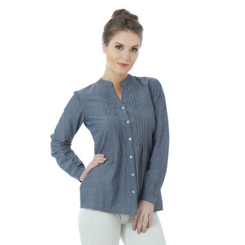 Grey Chambray Button Down Shirt Top