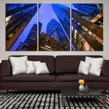 65079 - Chicago Wall Art Canvas Print - Extra Large Chicago City Night Canvas Print