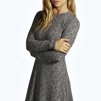 Grace Rib Knit Turtle Swing Jumper Dress