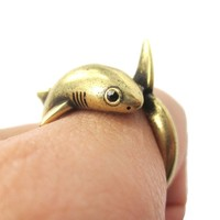 Realistic Great White Shark Shaped Animal Wrap Ring in Brass | US Size 6 to 9