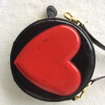"Vintage Moschino Heart Bag Purse Shoulder Vintage 90s Grunge Punk Patent Black Circle ""LOVE"" Heart Moschino Bag"