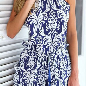Blue Printed Backless Romper