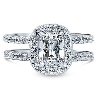 1.6CT Elongated Cushion Cut Russian Lab Diamond Bridal Set