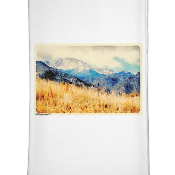 Pikes Peak Mountains Watercolor Flour Sack Dish Towel by TooLoud