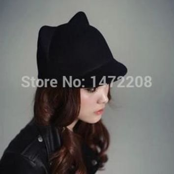 Free Shipping Autumn And Winter Women's Hats Female Dome Woolen Small Fedoras Cat Ears Devil Caps Lady's Fedoras