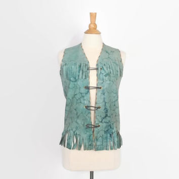 Vintage 60s LEATHER VEST / 1960s Mottled Turquoise Leather Fringe Hippie Vest
