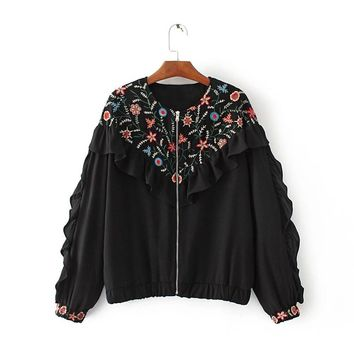 Europe and the United States fashion wind embroidered jacket