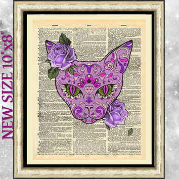 Original art print on antique dictionary book page. The purple cat sugar skull style. Wall decor on vintage book page gothic art and roses.