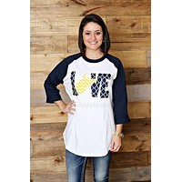 Love West Virginia tee, West Virginia raglan tee, Navy