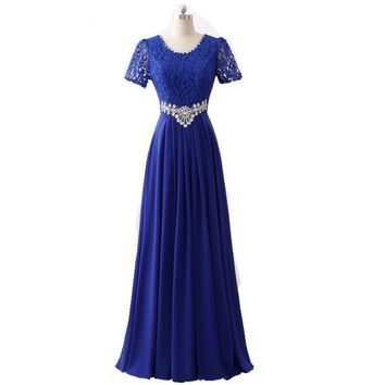 Long Red Lace Chiffon Royal Blue Formal Evening Dresses Women Crystal Elegant Mother of Bride Party Gowns