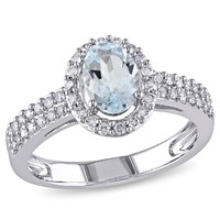 1/3 CT  Diamond TW And 5/8 CT TGW Aquamarine Fashion Ring  10k White Gold GH I1;I2