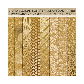 Digital Scrapbook Paper Pack Gold Glitter, Geometric Floral Wood Pattern, Instant Download Texture, Clipart Clip Art, Photo Background (3)