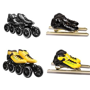 Speed Inline Skates Carbon Fiber Professional Dislocation Blade Ice Skates 4 Wheels Racing Skating Patines Similar Powerslide